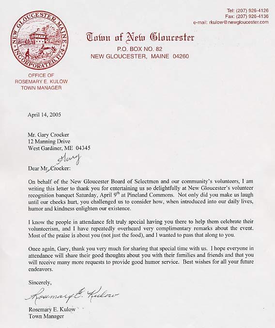 Client Testimonials - Gary Crocker, Maine Humorist
